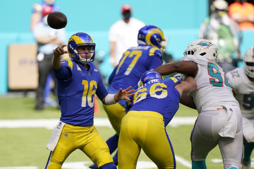 Rams quarterback Jared Goff looks to pass during the second half against the Miami Dolphins.