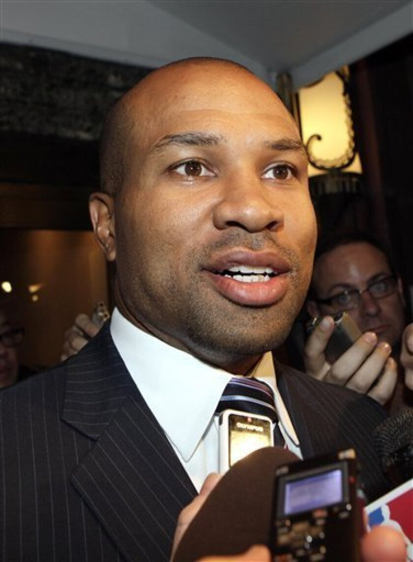 Derek Fisher, president of the NBA players union, talks with reporters, Monday, Oct. 10, 2011, in New York. NBA Commissioner David Stern canceled the first two weeks of the basketball season after players and owners were unable to reach a new labor deal to end the lockout. (AP Photo/David Karp)