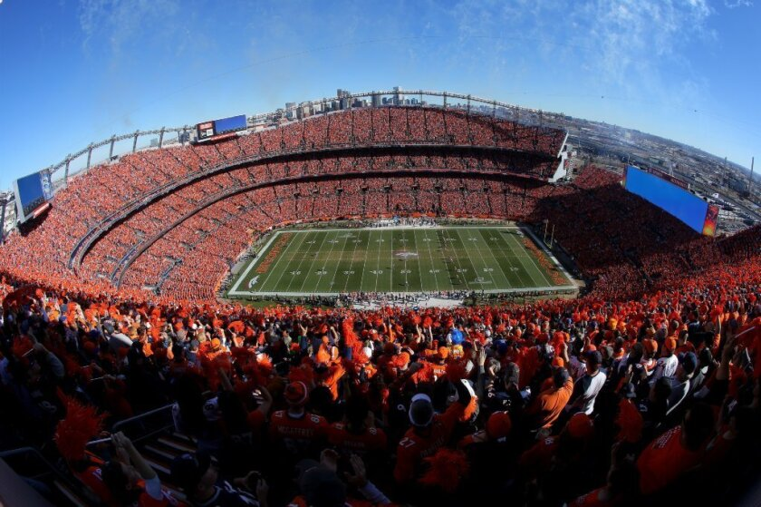 A new study finds that NFL players suffered fewer concussions when they played games at higher altitudes, such as in Denver, above.