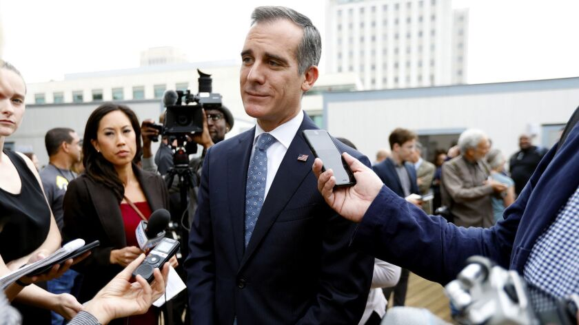 LOS ANGELES, CA SEPTEMBER 5, 2018: Los Angeles Mayor Eric Garcetti takes questions following a pre