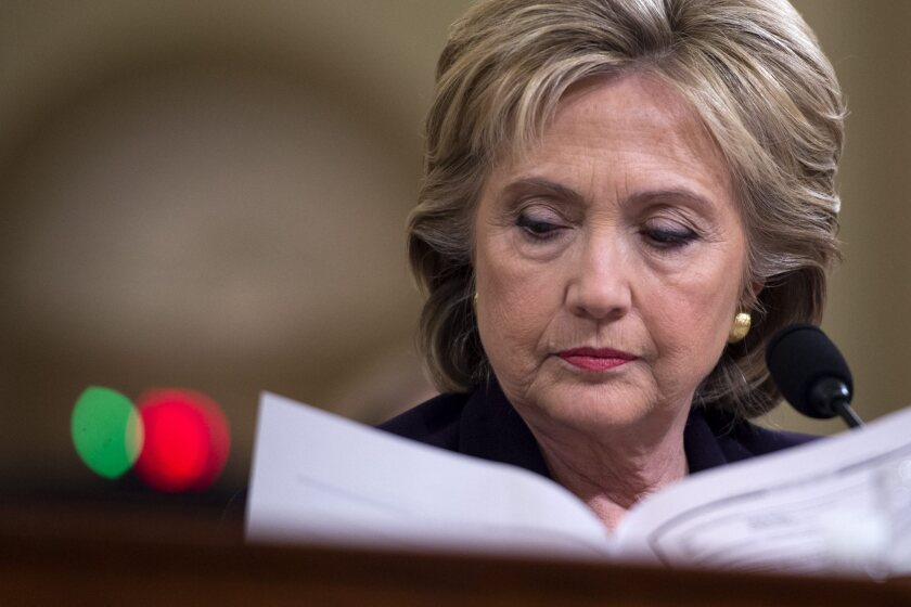 Former Secretary of State Hillary Clinton testifies before the House Select Committee on Benghazi on Oct. 22, 2015.