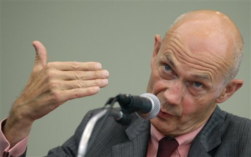 Pascal Lamy, director general of the World Trade Organization, speaks during a press conference in Seoul, South Korea, Monday, Sept. 6, 2010. Group of 20 leaders should use their November summit to make a serious push for the conclusion of stalled global trade negotiations, Lamy said Monday. (AP Photo/Lee Jin-man)