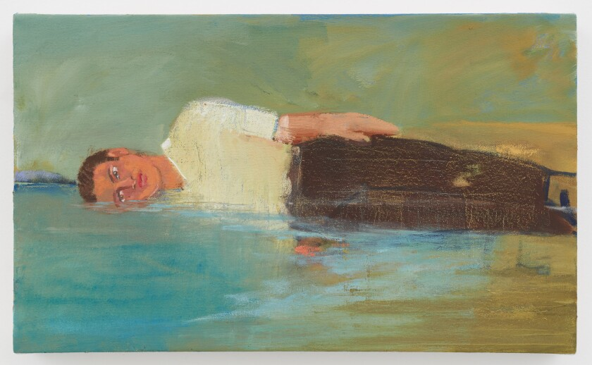 A painting in watery tones features the body of a man partly immersed in water along a shoreline