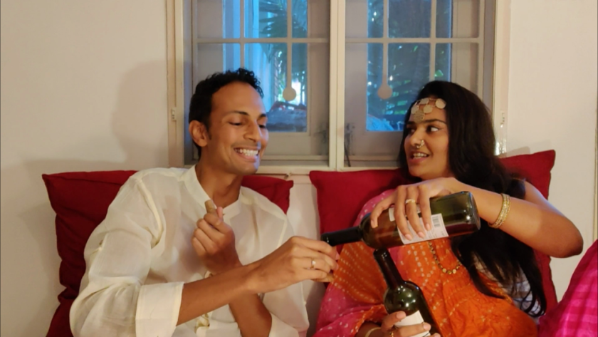 """Lakshmipriyaa Chandramouli, left, and Venkataraghavan Srinivasan perform a scene from """"Titus Andronicus"""" at their home in Chennai, India, for the now-global quarantine Sofa Shakespeare project launched last month by San Diego actor Julia Giolzetti."""
