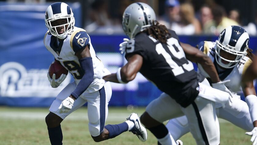 Los Angeles Rams wide receiver JoJo Natson in action during the second half in an NFL preseason foot