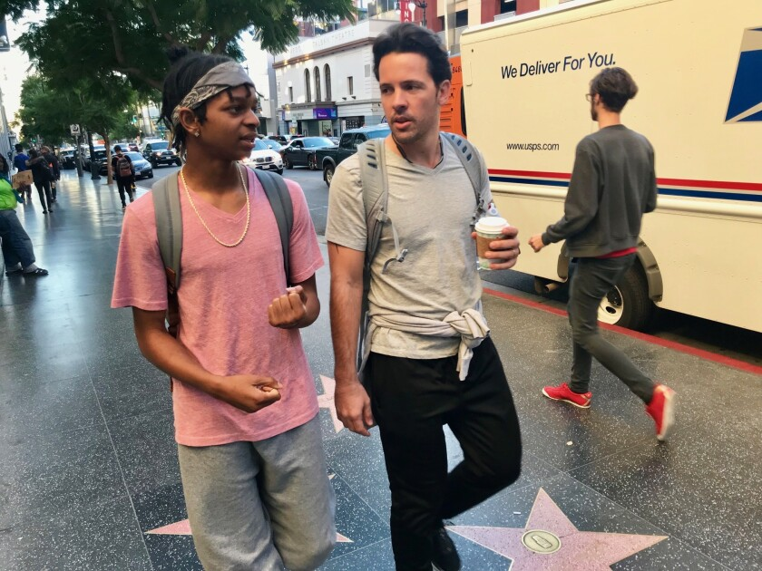 Dimitri Dunn in Hollywood with his mentor, Christian Lopez.