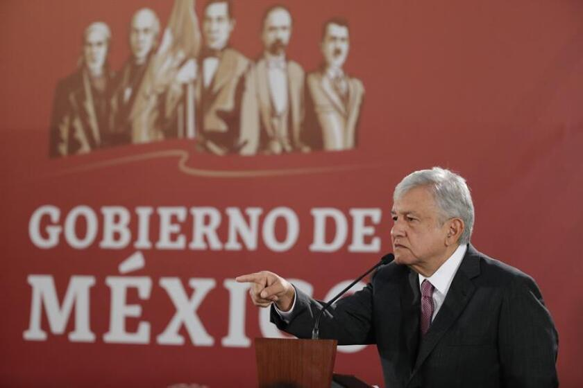 Mexican President Andres Manuel Lopez Obrador delivers a press conference at the National Palace, in Mexico City, Mexico, Dec. 4, 2018. Obrador celebrated the advance of the Mexican Stock Exchange (BMV) and the Mexican peso in its first Monday of mandate, because it denotes that 'there is confidence' in the markets. EPA/EFE/Jose Mendez
