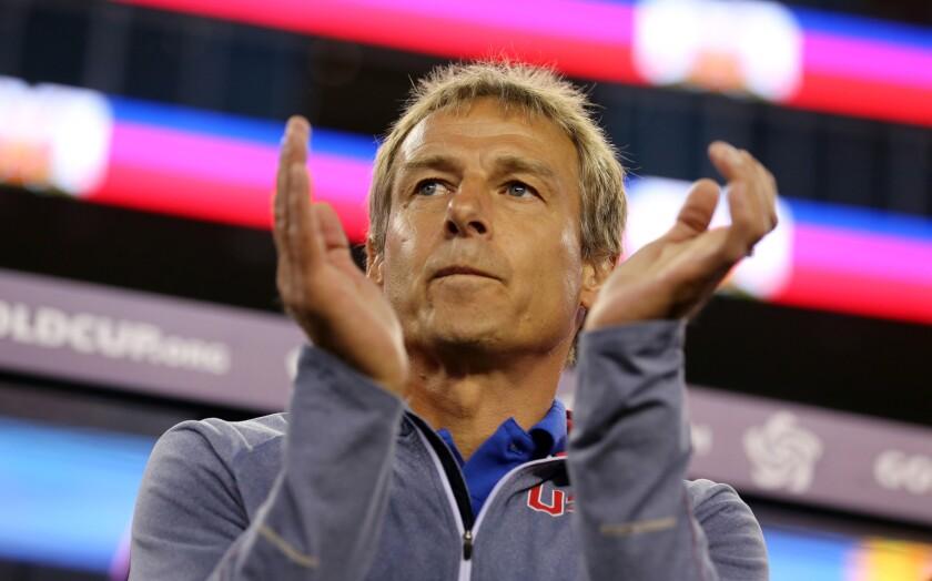 U.S. Coach Jurgen Klinsmann looks on during a CONCACAF Gold Cup match against Haiti in Foxboro, Mass. on July 10, 2015.