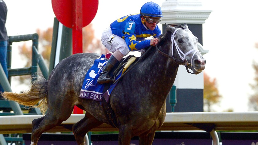 Jockey Javier Castellano rides Liam's Map to the win in the Breeders' Cup Dirt Mile at Keeneland Racecourse on Friday.
