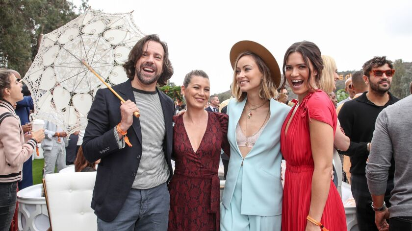 Jason Sudeikis from left, Ellen Pompeo, Olivia Wilde and Mandy Moore at the annual Veuve Clicquot Polo Classic in Pacific Palisades.