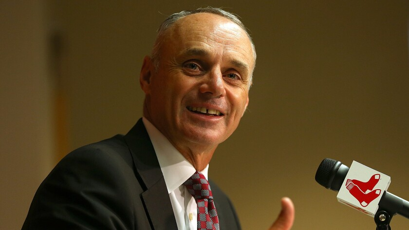 Major League Baseball Commissioner Rob Manfred will determine the length of suspensions in domestic violence cases. Appeals will be heard by an independent arbiter.