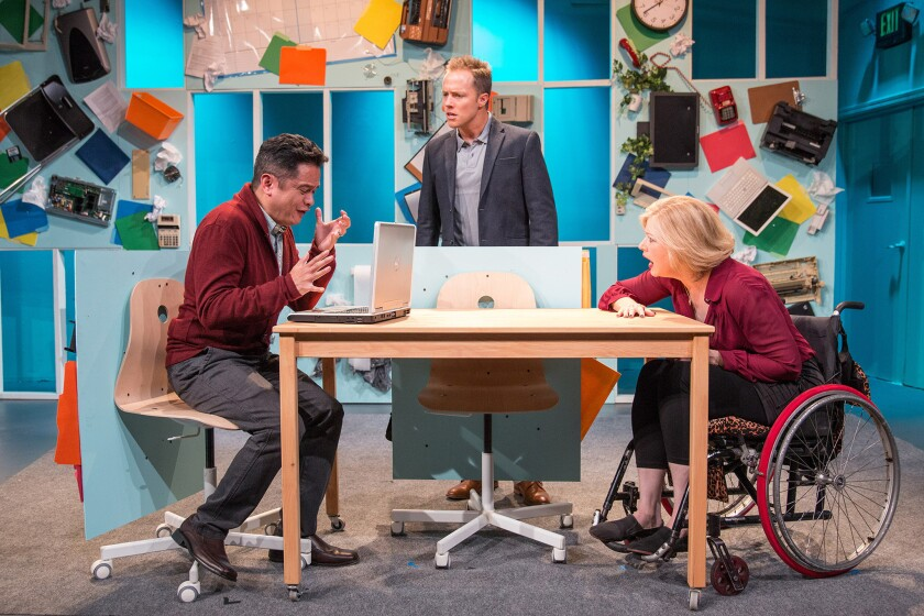 """A scene from """"One of the Nice Ones,"""" with cast members, from left, Rodney To, Graham Hamilton and Rebecca Gray."""