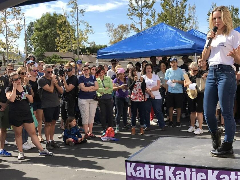 Actress Kristen Bell speaks to volunteers for Democratic congressional candidate Katie Hill on Sunday in Simi Valley.