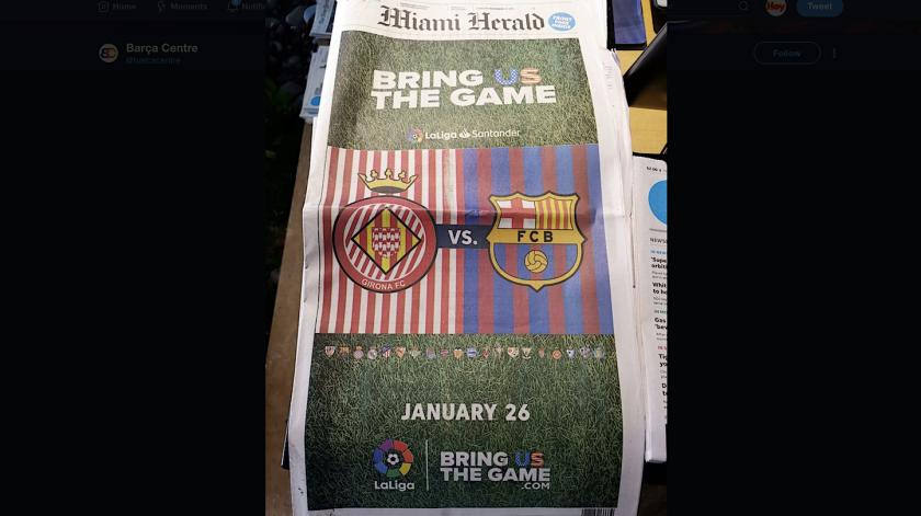 LaLiga española pagó publicidad del partido en cuatro páginas del diario Miami Herald, en Miami.