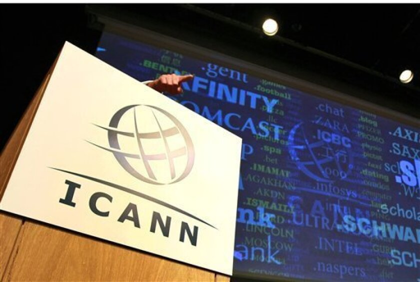 FILE- In this Wednesday June 13, 2012, file photo, Internet Corporation for Assigned Names and Numbers, ICANN, President and Chief Executive Rod Beckstrom, speaks on expanding the number of domain n