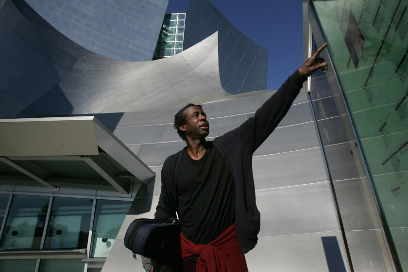 Nathaniel Anthony Ayers outside the Walt Disney Concert Hall in downtown Los Angeles in 2005.