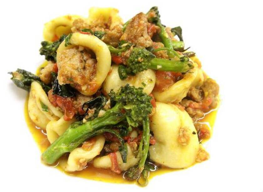 Orecchiette with sausage sugo, sprouting broccoli, chiles and ragu at Bucato, in the old Beacon space in the Helms Bakery complex in Culver City.
