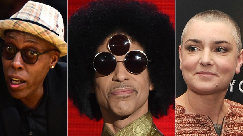 Arsenio Hall, left, Prince and Sinead O'Connor.