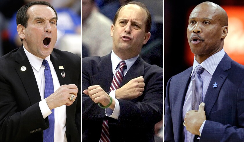 Brand-name coaches the Lakers might pursue include Duke's Mike Krzyzewski, left, former Knicks leader Jeff Van Gundy and former Lakers guard Byron Scott.