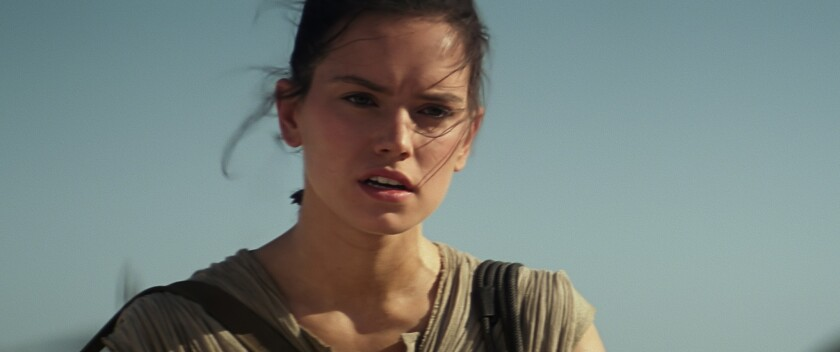 "Daisy Ridley as Rey in ""Star Wars: The Force Awakens"""