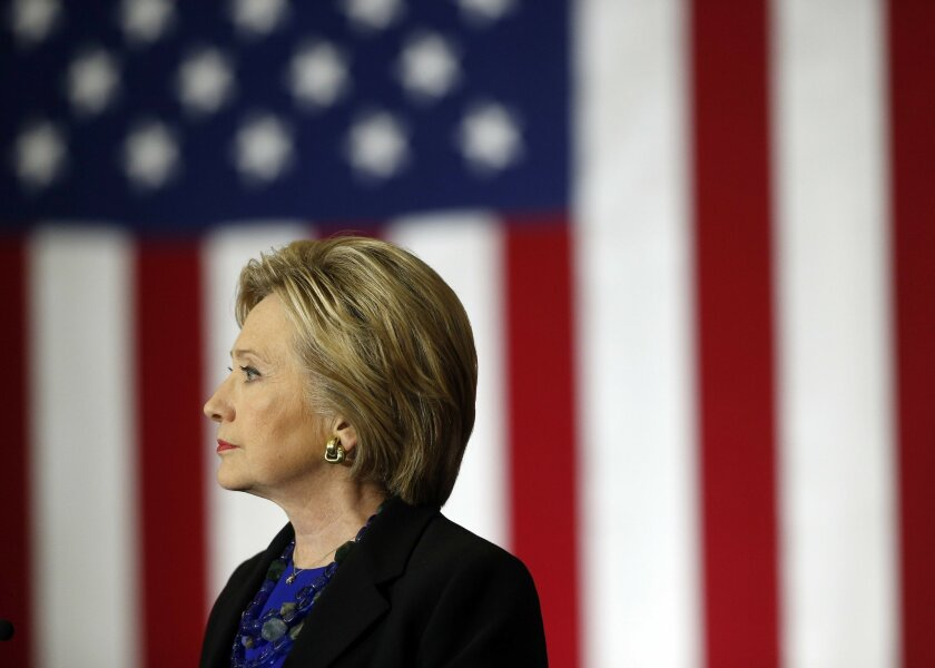 Democratic presidential candidate Hillary Clinton speaks at the University of Wisconsin.