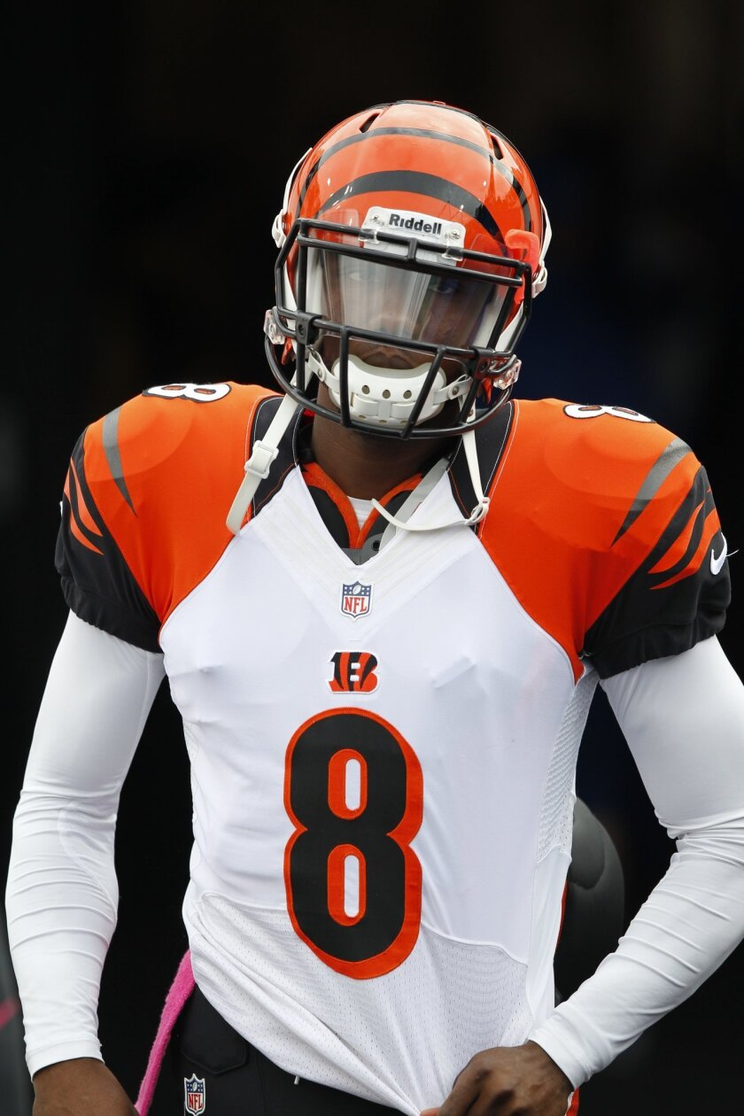 FILE - In this Oct. 13, 2015, file photo, Cincinnati Bengals quarterback Josh Johnson (8) runs onto the field to play against the Buffalo Bills in an NFL football game on in Orchard Park, N.Y. Johnson, now with the Bills, lives in the have-arm-will-travel world of an NFL vagabond. It is a role he has become accustomed to during an eight-year NFL career in which he has been a member of seven teams. (AP Photo/Bill Wippert, File)