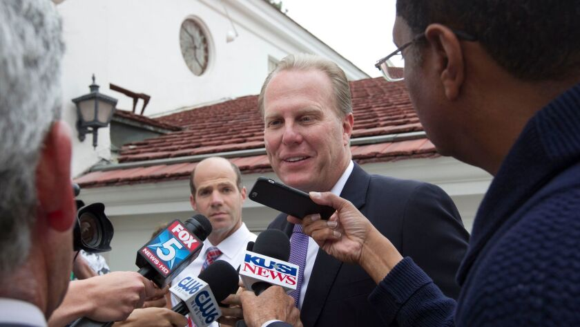 San Diego Mayor Kevin Faulconer after voting in the June primary when he was re-elected.