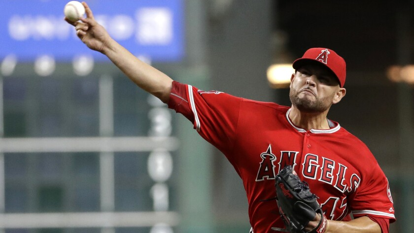 Angels starter Ricky Nolasco struck out five and walked one in seven innings against the Astros on Thursday.