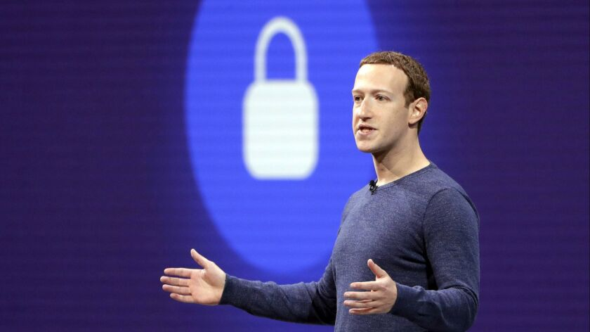Facebook CEO Mark Zuckerberg delivers the 2018 keynote speech at F8, Facebook's developer conference, in San Jose.