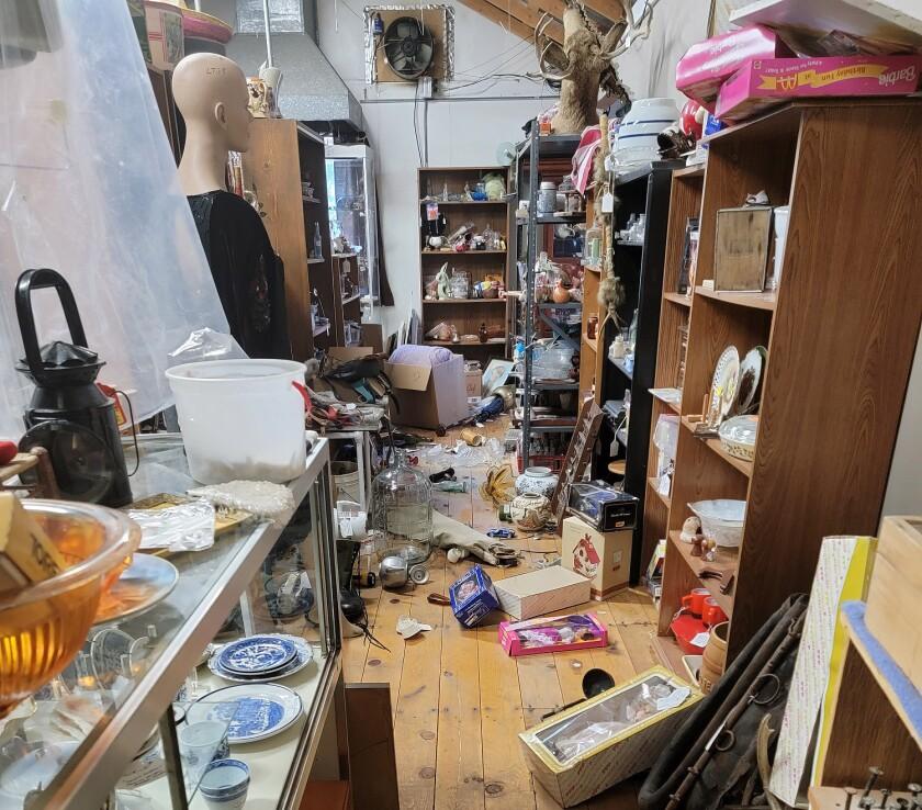 Items were knocked off shelves at the Walker Flea & Farmer's Market following a magnitude 6.0 earthquake