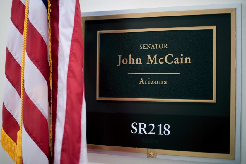 Sen. John McCain's office at the Russell Senate Office Building on Capitol Hill.