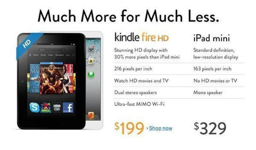 Amazon challenges iPad mini with Kindle Fire HD comparison online