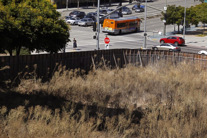 The site of a proposed seven-story residential building on Santa Monica Boulevard.