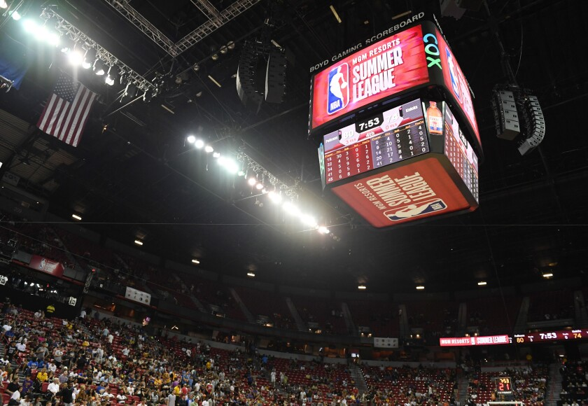Some fans head for the exits after an earthquake shook the Thomas & Mack Center during a game between the New Orleans Pelicans and the New York Knicks during the NBA Summer League on Friday in Las Vegas.