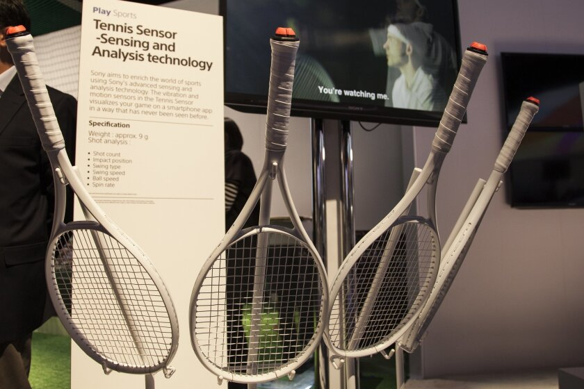 Sony developed a sensor for tennis that measures swing speed, spin and other metrics