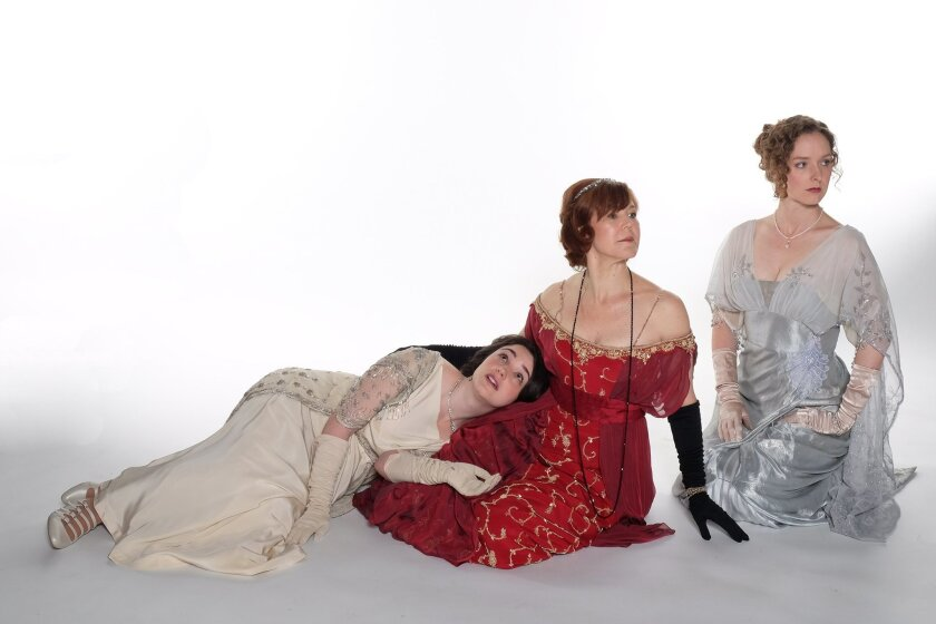 """Leanne Agmon, Kim Martin-Cotten and Amanda Quaid in J.B. Priestley's """"Time and the Conways,"""" coming to the Old Globe Theatre"""