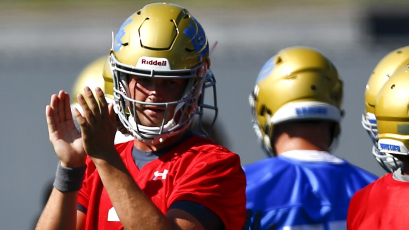 LOS ANGELES, CALIF. - AUGUST 03: UCLA Bruins quarterback Wilton Speight (3) claps during the first d