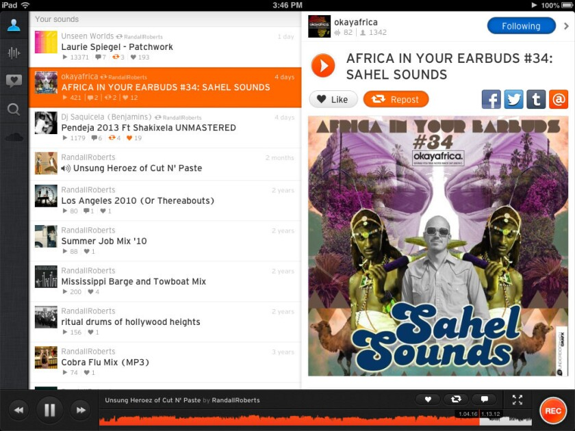 SoundCloud's new subscription service will add tens of millions of licensed tracks from major label artists. Above, a screen shot of the audio-sharing app on an iPad.