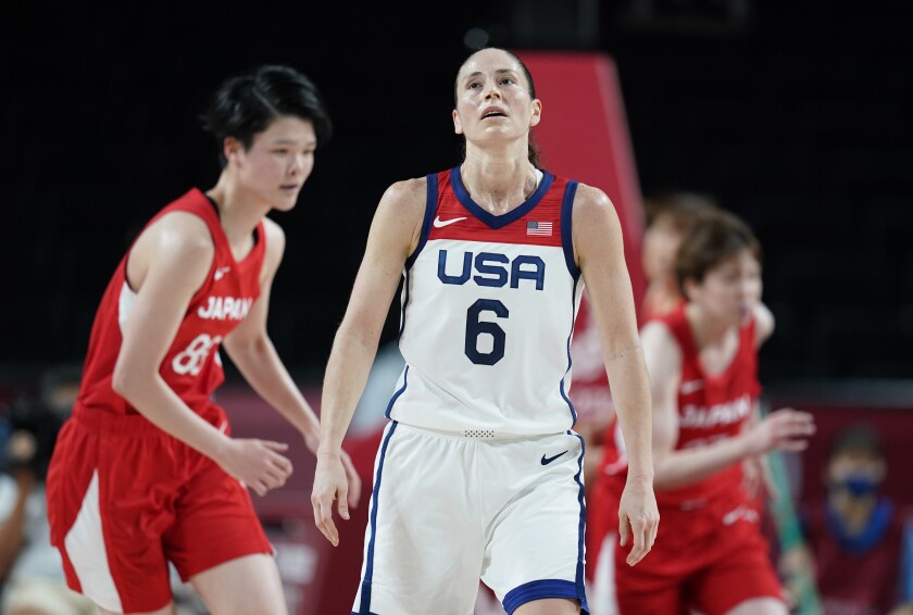 United States' Sue Bird (6) reacts after making a shot during women's basketball preliminary round game against Japan at the 2020 Summer Olympics, Friday, July 30, 2021, in Saitama, Japan. (AP Photo/Charlie Neibergall)