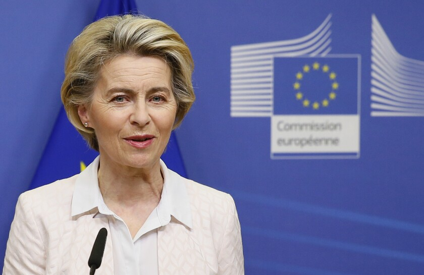 European Commission President Ursula von der Leyen makes a statement on camera regarding Brexit negotiations, after a phone call with British Prime Minister Boris Johnson, at EU headquarters in Brussels, Saturday, Dec. 5, 2020. (Julien Warnand)