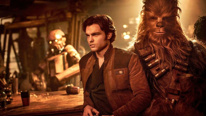 "Alden Ehrenreich is a young Han Solo and Joonas Suotamo is Chewbacca in the latest from the ""Star Wars"" franchise."