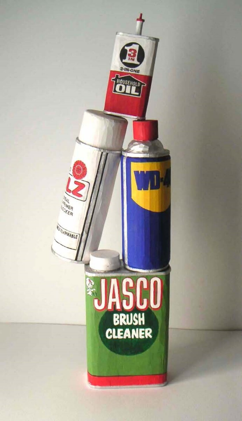 """WD-40..."" by Robert Levine, 2009. Acrylic on wood, 20 inches by 6.5 inches by 3.5 inches"