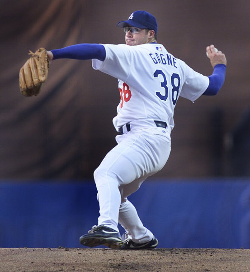 Eric Gagne pitches for the Dodgers in 2001.