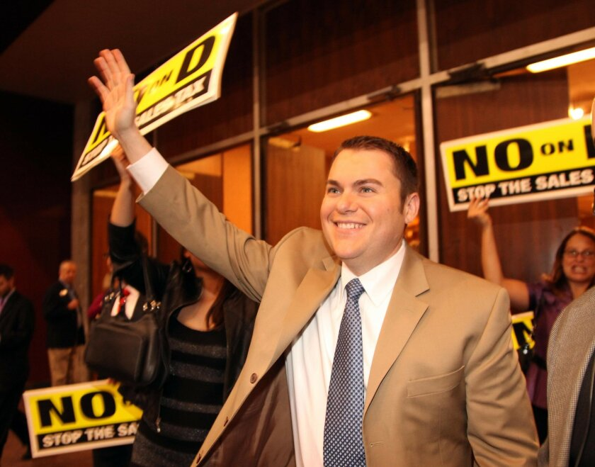 Councilman Carl DeMaio celebrates the defeat of Proposition D.