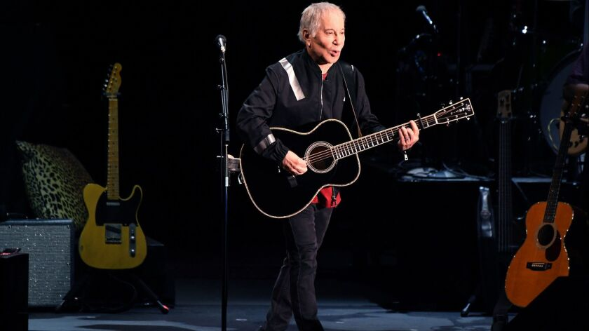 HOLLYWOOD, CALIFORNIA MAY 22, 2018-Paul Simon performs in concert during his farewell tour at the Ho