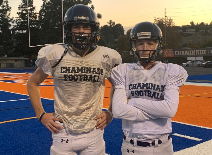 Punter Jack Stonehouse, left, and kicker Chase Meyer have been key contributors in helping Chaminade reach the Division 2 championship game.