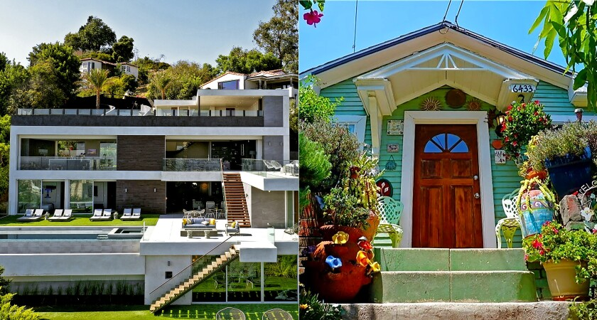 Hollywood Hills' priciest home, left, costs $12.495 million. The cheapest, right, costs $738,000.