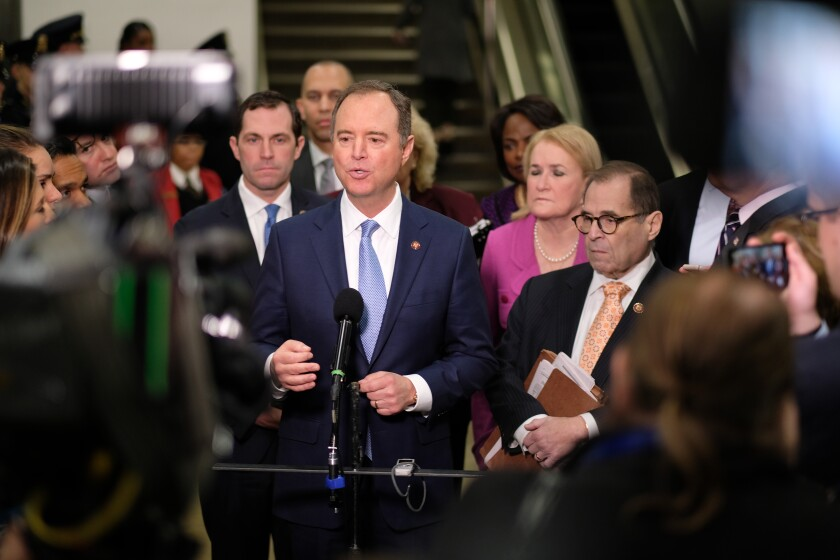 Rep. Adam B. Schiff (D-Burbank) speaks at the Capitol on Friday. Schiff is among seven House managers who presented evidence at President Trump's Senate impeachment trial this week.