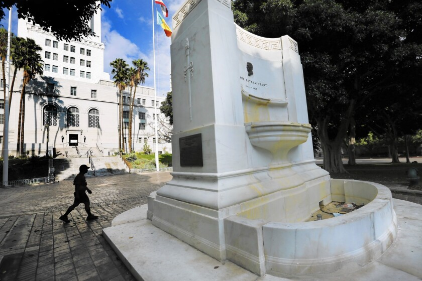 The Frank Putnam Flint fountain is one of about a dozen fountains and pools around Los Angeles City Hall and Olvera Street that the city has drained to conserve water during the drought.