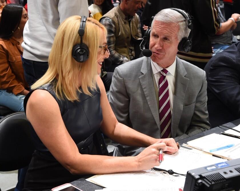 Doris Burke and Andy Bernstein are part of ESPN's NBA broadcast crew.